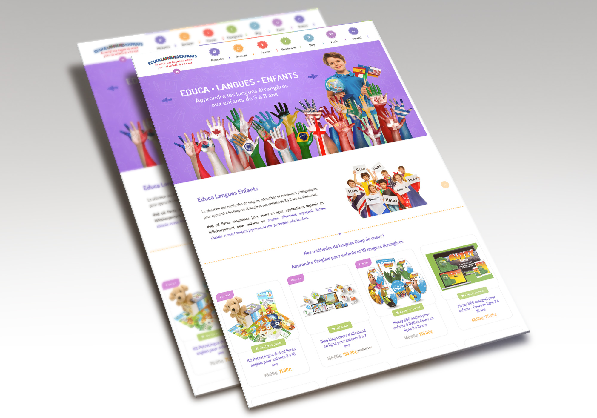 Site Ecommerce Educa Langues Enfants